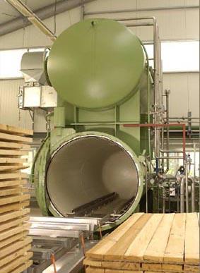 Vakuum-Druckkessel zur Holzimprägnierung mit DMDHEU